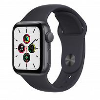 Часы Apple Watch SE GPS 40mm Aluminum Case with Sport Band серый космос/тёмная ночь MKQ13