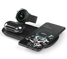 Зарядная станция 3 в 1: Qi, Galaxy Watch, Galaxy Buds, беспроводная, 17,5 Вт, черная, Deppa
